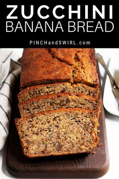 This healthy Zucchini Banana Bread is one of my favorite summer recipes! It's th… This healthy Zucchini Banana Bread is one of my favorite summer recipes! It's the best recipe I've tried – easy, moist, made with whole grain flour and honey sweetened! Zucchini Banana Bread, Zucchini Bread Recipes, Healthy Zucchini, Quick Bread Recipes, Banana Bread Recipes, Healthy Dessert Recipes, Baking Recipes, Delicious Desserts, Brunch Recipes