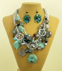 5 Strand Silvertone Blue & Green Bead Necklace with Earrings