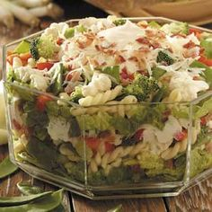 Layered pasta salad...made this with a few changes (no cauliflower and plain old peas instead) also added Greek yogurt to the dressing...yummy!  Got a lot of compliments!
