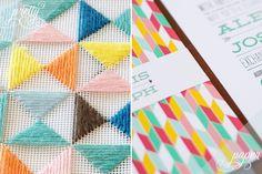 Colorful + Geometric Wedding Invitation Inspiration / Photo Credits: She Makes a Home / Renee Nicole Design