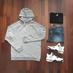 Outfit grid - Grey hoodie & jeans