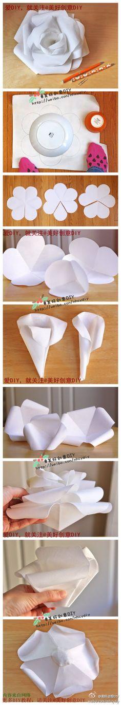 DIY: simple layered paper flower一朵洁白的玫瑰,喜欢的童鞋学起来~~——更多有趣内容,请关注@美好创意DIY