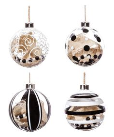 This Black & White Glass Ornament Set is perfect! #zulilyfinds