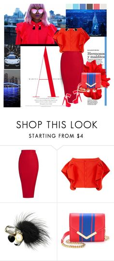 """All Things Bright and Beautiful"" by trudith ❤ liked on Polyvore featuring Posh Girl, Rosie Assoulin, ShoeDazzle, Cynthia Rowley, Thierry Lasry, red and redheels"