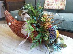 Cornucopia Centerpiece - Thanksgiving Arrangement - Silk Floral Arrangement - Cornucopia