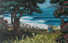 tony ogle is my favourite NZ print artist.  Always captures the essence of NZ beach life