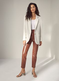 These are high-waisted pants with flattering seams and a tapered leg. They're made with soft, vegan leather that looks and feels like the real thing. Blazer Outfits, Blazer Fashion, Casual Outfits, Casual Blazer, Blazer Dress, Dress Outfits, Fall Outfits, Leather Pants Outfit, Faux Leather Pants