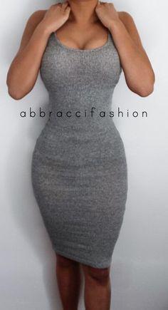 Gray Tank Top Bodycon Dress Stretchy Knee by AbbracciFashion