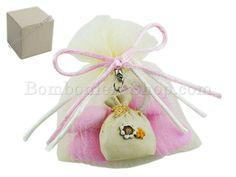 Bomboniera sacchetto dei desideri confezionato con portaconfetti