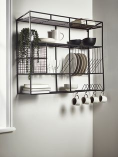 Industrial Style Iron Wall Unit - The perfect industrially inspired storage unit for any kitchen, our large wall rack has space to st - Kitchen Wall Storage, Kitchen Organization, Diy Kitchen, Kitchen Design, Kitchen Decor, Storage Shelves, Kitchen Utensils, Kitchen Cabinets, Wire Kitchen Rack