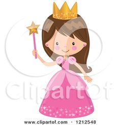 Cartoon of a Cute Brunette Princess Girl in a Pink Dress, Holding a Wand - Royalty Free Vector Clipart by peachidesigns