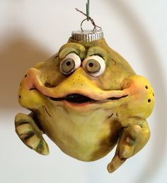 Mercedese Bantz polymer clay frog. One of a kind hand sculpted ornament.