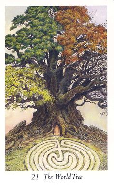 The World - Wildwood Tarot - You are right in the middle of the karmic wheel. Don't hang on to old habits. Let go, stay calm and go with the flow.