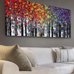 """Abstract Art PRINT- birch tree aspen landscape large wall art modern canvas print colorful up to 72"""" Susanna by ModernHouseArt on Etsy https://www.etsy.com/listing/236713017/abstract-art-print-birch-tree-aspen"""