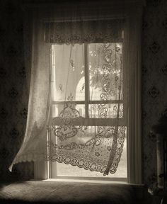 peaceful...soothing...memories...and I can almost feel that light breeze blowing these lace curtains...ahhh, love this.