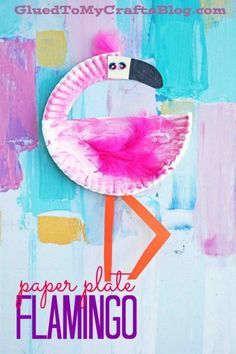 Paper Plate Flamingo - Summer Themed Kid Craft Idea #gluedtomycrafts