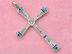 Antique Art Deco 09ctw Diamond 20ctw Sapphire Platinum 18K Cross Pendant 1920 www.MelsAntiqueJewelry.com