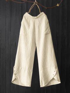 Vintage Asymmetrical Button Elastic Waist Plus Size Pants - Newchic Salwar Designs, Kurti Designs Party Wear, Fashion Pants, Fashion Outfits, Salwar Pants, Designs For Dresses, Plus Size Pants, Pants For Women, Clothes For Women