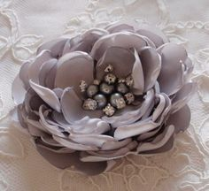 Larger Handmade Singed Flower Fabric Flower Fabric Rose With Pearl and Rhinestone inches) In Lt Gray MY- 647 Ready To Ship Fabric Roses, Satin Fabric, Flower Fabric, Lace Flowers, Crochet Flowers, Ribbon Bows, Grosgrain Ribbon, Terrarium Wedding, Flower Making