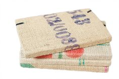 Fair trade, hand-stitched journals from recycled coffee bags by artisans in Haiti