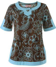 brown/blue koi scrub top