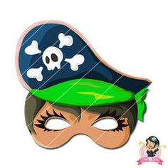 Childrens Printable Girl Pirate Mask - Green | Simply Party Supplies Printable Masks, Printables, Girl Pirates, Mask Girl, Half Mask, Printer Paper, Hole Punch, Print And Cut, Fancy Dress