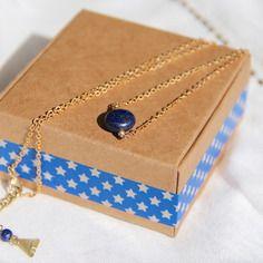 Collier perle palet ronde de lapis-lazuli & chaîne laiton brut (doré), idée cadeau, bijou fin, ethnique chic / Myo jewel