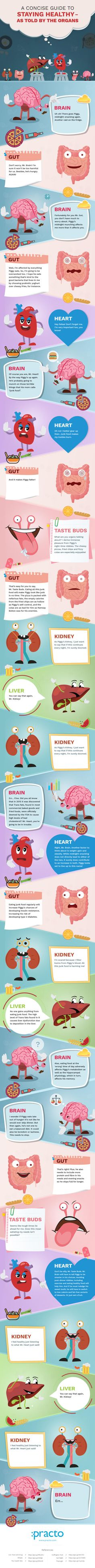 A Concise Guide to Staying Healthy As Told By Organs [Infographic] Health And Nutrition, Health And Wellness, Health Tips, Health Care, Health Fitness, Fitness Tips, Keeping Healthy, How To Stay Healthy, Healthy Life