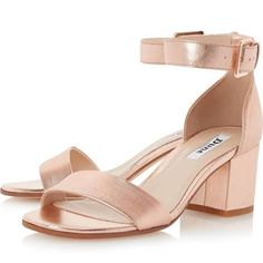 Dune London Women's JAYGO Two Part Block Heel Sandal in Rose Gold Size 7
