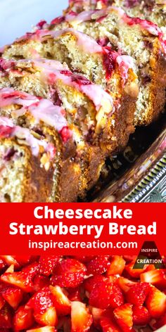 Cheesecake Strawberry Bread - Inspire a Creation Breakfast Bread Recipes, Easy Brunch Recipes, Breakfast Snacks, Best Dessert Recipes, Fun Desserts, Snack Recipes, Vegan Recipes, Strawberry Bread, Strawberry Cheesecake