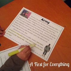 Close Reading: Armed Forces: military, Army, Navy, Air Force, Marines, Coast Guard.  Open ended questions, questioning to support text, vocabulary word review and definition pages, webs, identifying key elements and key features of texts are all included.