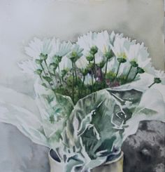 Daisies in cellophane.