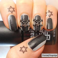 Painted Fingertips | NailCandi Skulls and cuticle tattoos - Halloween