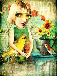 """from Songbirdy using Tumble Fish Studio's new  """"Another Mash Up"""" digital image kit at MischiefCircus.com . . . over 250 pieces in this kit to make your own art dolls, collages, and journal pages."""