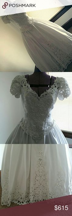 David's Bridal Santa Monica Dress Size 10 wedding dress  100% polyester..  5 foot train  Bows and pearls and sequins on dress  Davids Bridal Santa Monica Dress  Obviously only worn 1 time, then dry cleaned. Been in garment bag.  No tears, no stains, 100% clean and brand new looking.  $800 , after fees I get $640 , then minus the 50.00 shipping upgrade. So I only get $590 so please no low balling offers.  Paid $7,000 for dress. David's Bridal Dresses