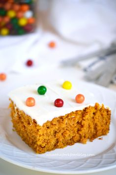 Pumpkin Cake with Cream Cheese Frosting. Ingredients: eggs, pumpkin, sugar, oil, vanilla, flour, baking powder and soda, sea salt, cinnamon, nutmeg. Frosting: cream cheese, butter, vanilla, powdered sugar