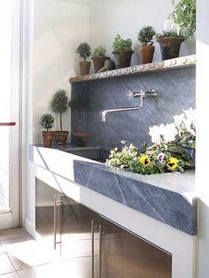 soapstone sink  Wall mount faucet