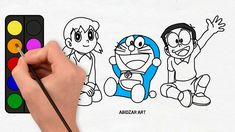 Drawing & Coloring Doraemon, Nobita & Shizuka With Their Original Colour...