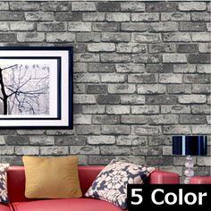 beibehang wallpaper 5 color Dark Grey Realistic Real Look Brick/Stone Vinyl Textured Background 3d Wallpaper papel de parede #Affiliate