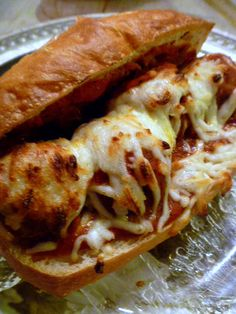 Slice of Southern: Meatball Subs - I made this quick recipe with frozen turkey meatballs from Trader Joe's, the Pizzeria Sauce pinned on this board, and whole wheat hoagies from Publix. Meatball Subs, Meatball Recipes, Meatball Sandwiches, Turkey Recipes, Beef Recipes, Best Meatloaf, Meatloaf Recipes, I Love Food, Good Food