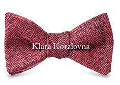 бабочка из ткани в елочку  - бабочка из льна / linen bow tie