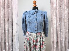 tyrolean sweater 40s dirndl style handknitted by Wollarium on Etsy