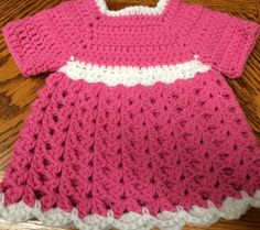 Handmade Crochet S/sleeve Dress Preemie/NB to 6 weeks - 20 inch Doll Pink/White #Handmade #DressyEverydayHoliday
