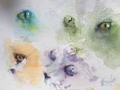 watercolor, sketches, sketch, cat eyes, exercises, eyes, animal eyes, veredit, Isabella Kramer, Jean Haines,  Aquarell, Studien,