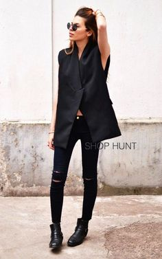 ShopHunt Cut Off Ripped Stretch Ankle Crop Slim Skinny Jeans Pants Black Machine #MachineJeans #SlimSkinny