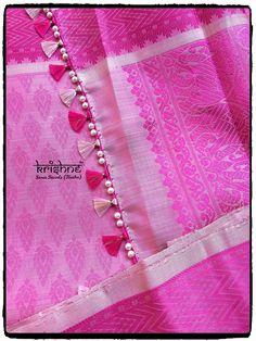 Linen Saree Tassel in Pink Saree Tassels Designs, Saree Kuchu Designs, Pattu Saree Blouse Designs, Bridal Blouse Designs, Hand Work Blouse Design, Hand Embroidery Videos, Saree Border, Blouse Patterns, Applique Designs