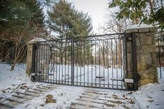 Need a driveway gate installed or repaired? Tri State Gate is a BBB-accredited custom driveway gate company serving New York, New Jersey & Connecticut. Wrought Iron Driveway Gates, Iron Gates, Bedford Hills, Entry Gates, Arches, Deck, New York, Simple