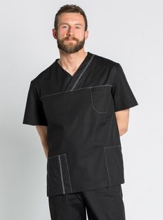 Blouse médicale noire stretch pour Homme African Men Fashion, Mens Fashion, Hospital Icon, Scrubs Outfit, Medical Uniforms, Medical Scrubs, Nursing Dress, Men In Uniform, Chef Jackets