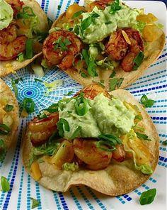 Shrimp Tostadas with Avocado Crema