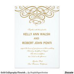 Gold Calligraphy Flourish Wedding Invitation